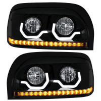 Freightliner Century Blackout Projection Headlight With LED Light Bar And Turn Signal - Both Sides