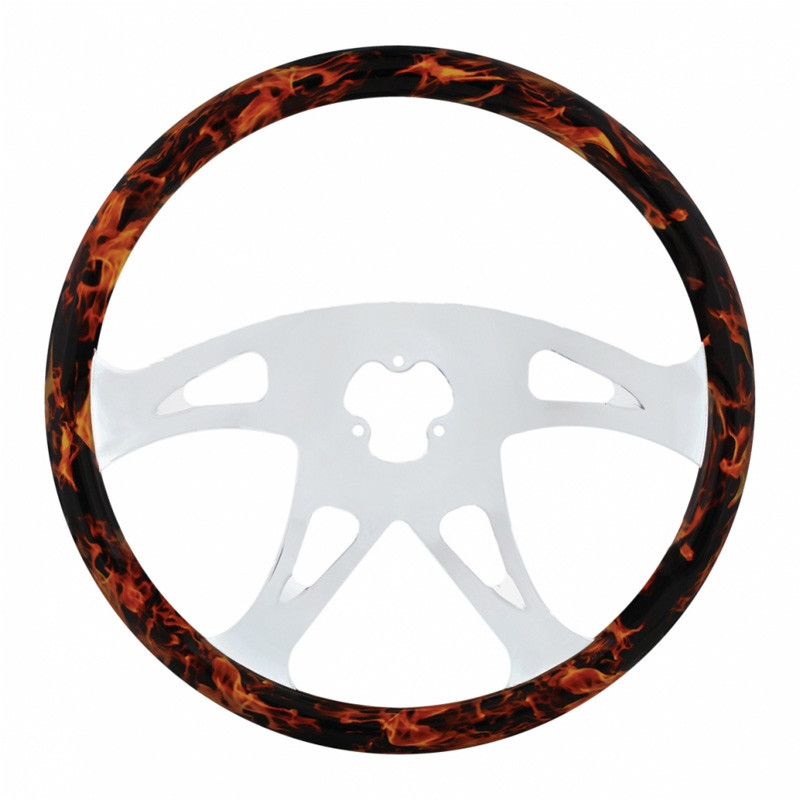 "18"" Flame Wood Boss Steering Wheel With Chrome Spokes"