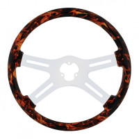"18"" Flame Wood 4-Spoke Steering Wheel With Chrome Spokes"