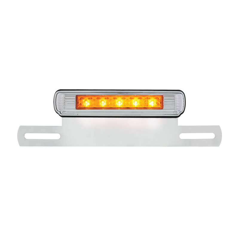 Motorcycle LED License Plate Bracket - Amber Auxiliary LED