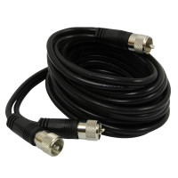 RoadPro 12' CB Antenna Co-Phase Coax Cable With 3 PL-259 Connectors