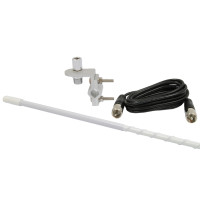 RoadPro 3' Standard Series White Mirror Mount Fiberglass CB Antenna Kit