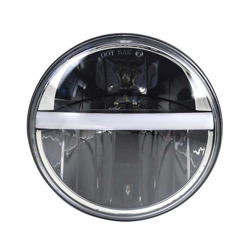 "7"" Round LED Headlight With Center DRL And Turn Signal"