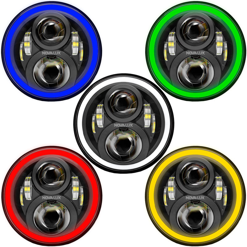 """7"""" Round Projection LED Color Shift Angel EyeHeadlights Color Rims"""