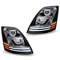 Volvo VNL Chrome Projector LED Headlight - Set