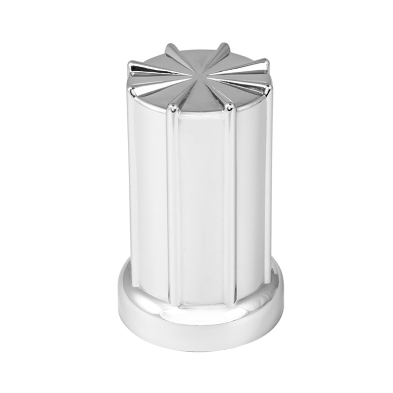 33mm Chrome 8 Spoke Lug Nut Cover - Side View