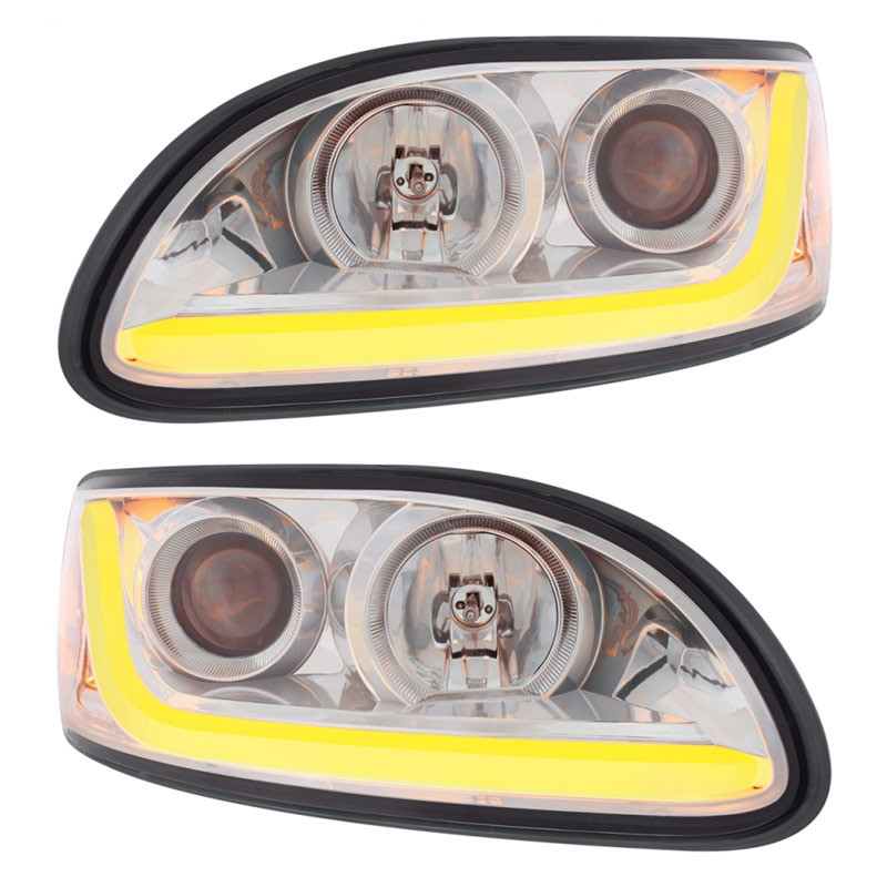 Peterbilt 386/387 Projector Headlight With LED Dual Function Light Bar