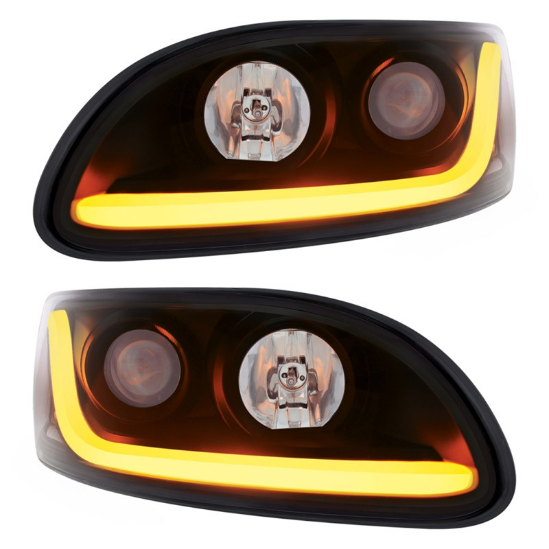Peterbilt 386/387 Blackout Projector Headlight With LED Dual Function Light Bar - Set