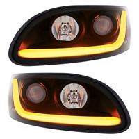 Peterbilt 386/387 Blackout Projector Headlight With LED Dual Function Light Bar - Set
