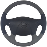 "Freightliner Cascadia 18"" Gray/Black Leather Steering Wheel"