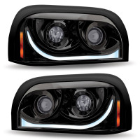Freightliner Century Blackout Projector Headlight With LED Dual Function Light Bar
