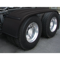 "Semi Truck 133"" Black Full Tandem Poly Fenders W/ Black Stainless Steel Mounting Kit"