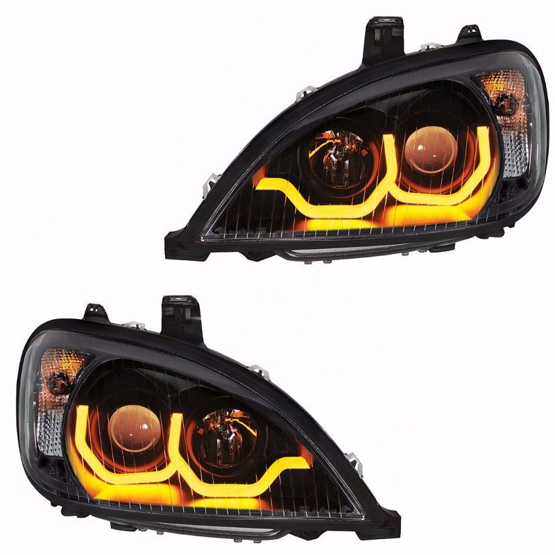 Freightliner Columbia Blackout Projection Headlight w/ Dual Function LED Bar - Both Sides