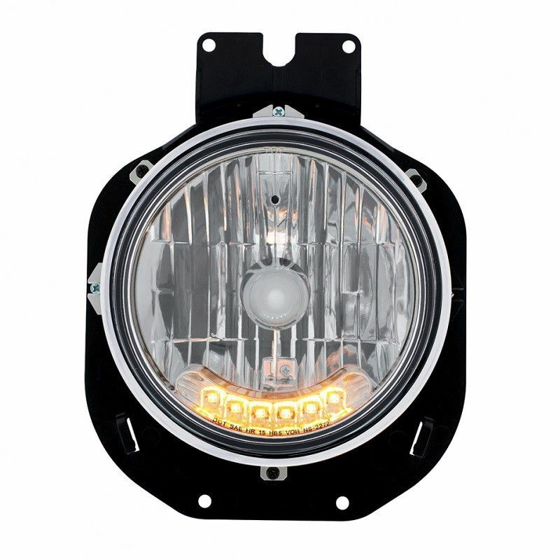 Freightliner Century Crystal Headlight with 6 Amber Auxiliary LED Front View