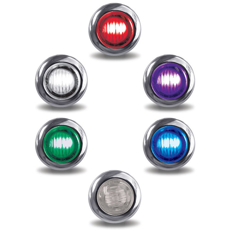 """3/4"""" Mini Button Dual Revolution Red LED Marker Light All Options"""