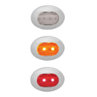 Mini Oval Button Dual Revolution Amber & Red LED Marker Light Diagram