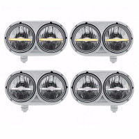 Peterbilt 359 Style LED Stainless Dual Headlight Assembly Amber And White LED Shown