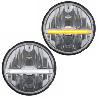 """5 3/4"""" Round LED Headlight With LED Position Light Bar Amber And White LED Shown"""