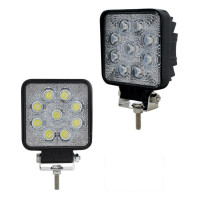 High Power 9 LED 25 Watt Square Work Light