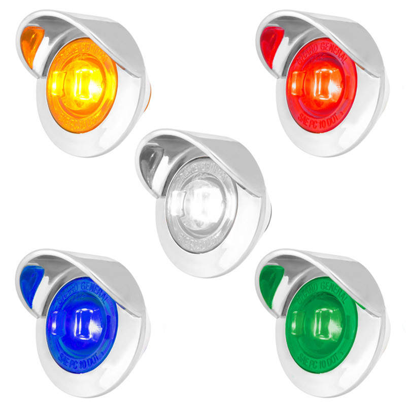 "1"" Mini Wide Angle Clearance Marker LED Light With Visor - All Colors"