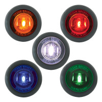 "Dual Function 1"" Mini Wide Angle Clearance Marker & Turn LED Light With Grommet - Colors"