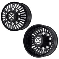 "22.5"" x 8.25"" Satin Black Routlette Style Wheels Front And Rear"