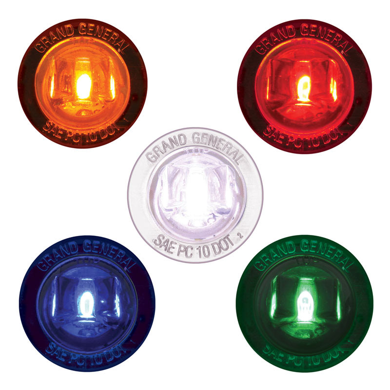 """ual Function 1"""" Mini Wide Angle Clearance Marker & Turn LED Light With Nut - All Colors"""