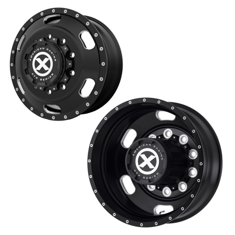 "24.5"" x 8.25"" Satin Black Indy Style Wheels Front And Rear"