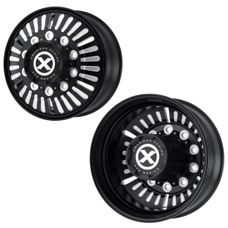 "24.5"" x 8.25"" Satin Black Routlette Style Wheels Front And Rear"