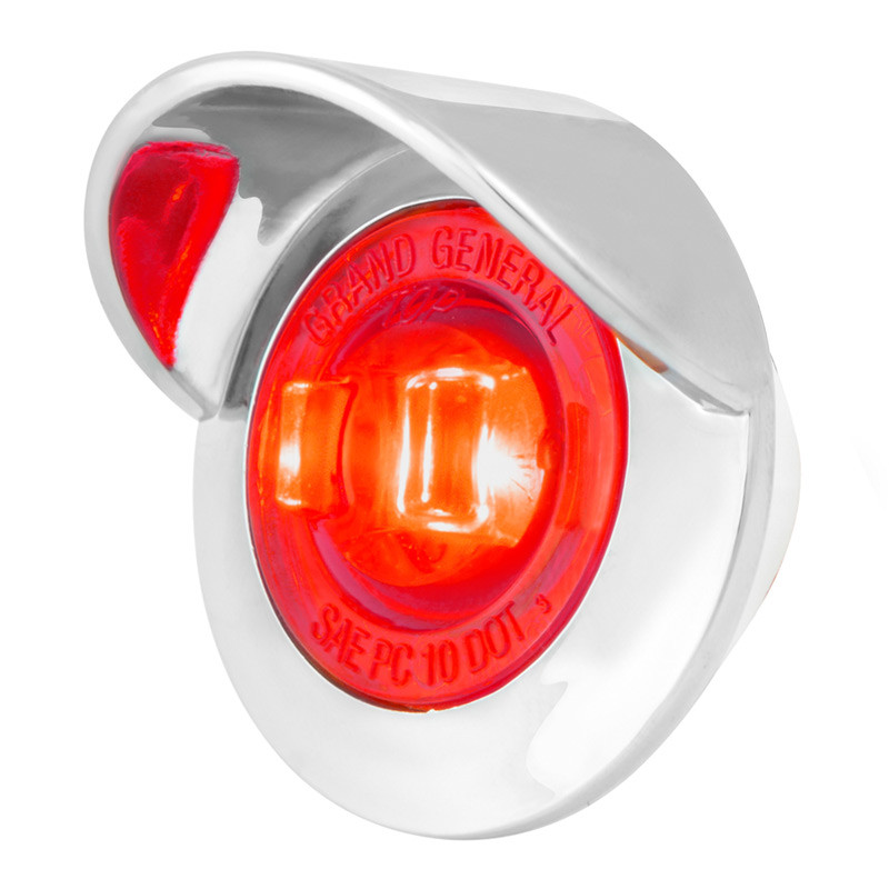 """1.25"""" Clearance Marker LED Light With Visor - Red/Red"""