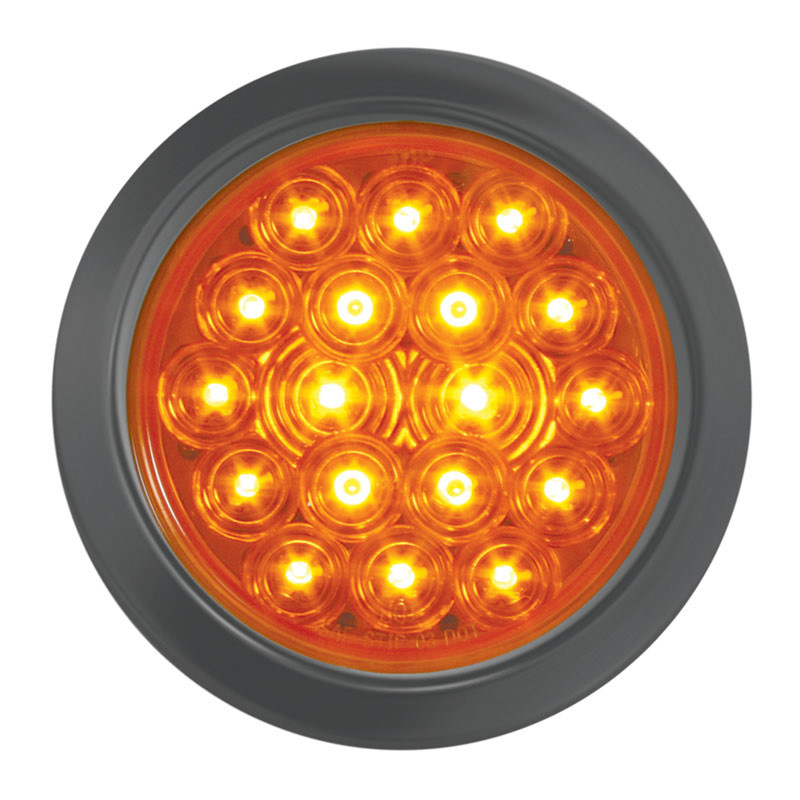 """Fleet Series 18 Amber LED 4"""" Round STT PTC Light w/ Black Rubber Grommet"""
