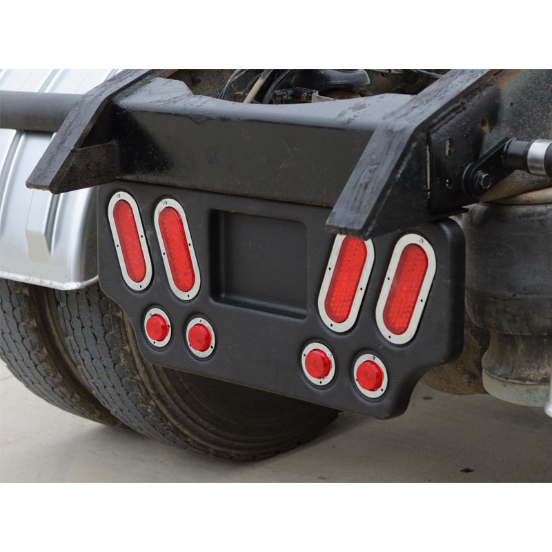 Mud Flap Hanger Rear Bar With Six Oval Light Cutouts Spring Loaded Stainless Ste