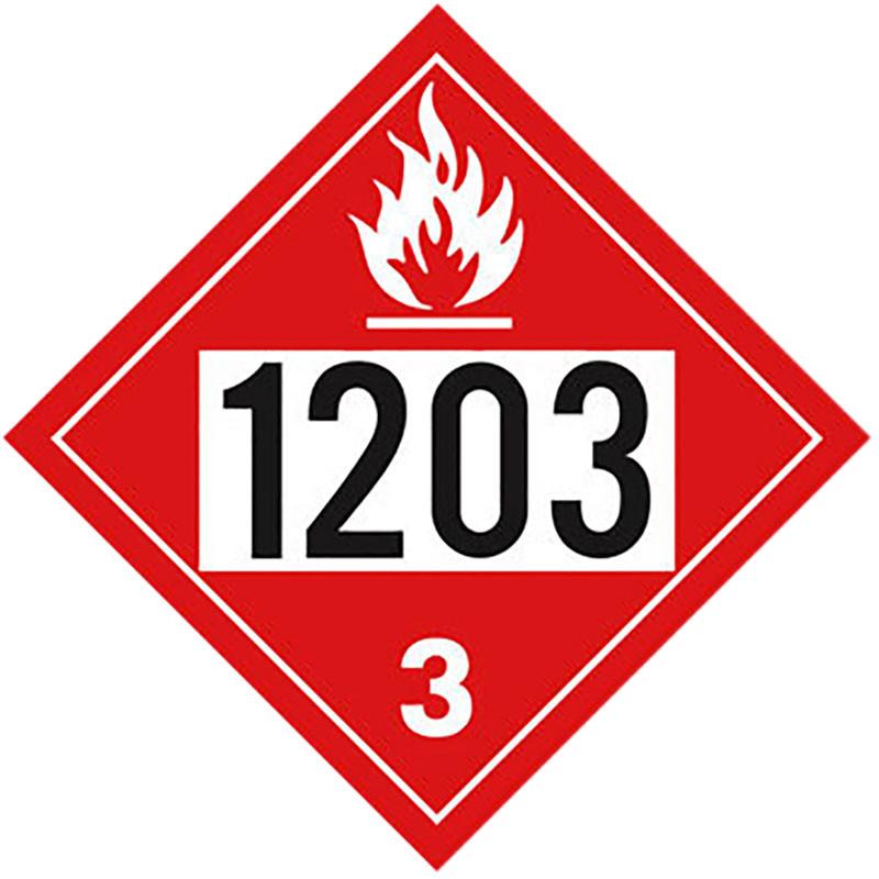 Flammable 1203 Class 3 Placard Sign