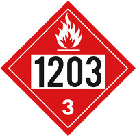 Flammable 1203 Class 3 Placard Sign