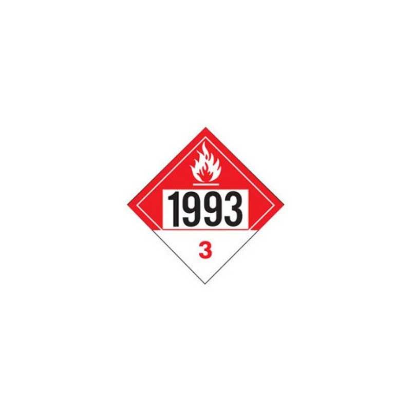Flammable 1993 Class 3 Placard Sign