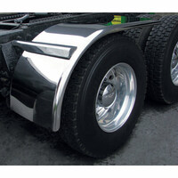 "66"" Semi Truck Half Fenders 14 Ga. Stainless Steel With Rolled Edge On Truck"
