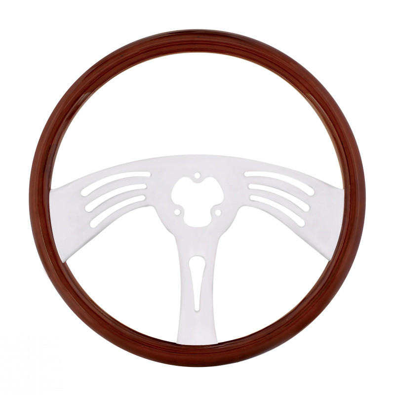 """18"""" Classic Mahogany Chrome Arch 3 Spoke Steering Wheel With Hub Included"""