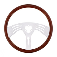 "18"" Classic Mahogany Chrome Arch 3 Spoke Steering Wheel With Hub Included"