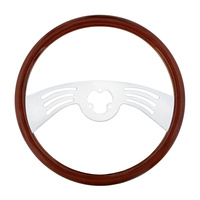 "18"" Classic Mahogany 2 Chrome Spoke Steering Wheel With Hub Included"