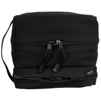 Canvas Dual Compartment Travel Kit - Black