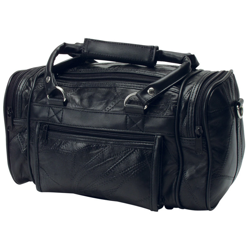 "12"" Patchwork Black Leather Shave Kit Bag"