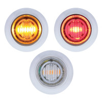 3 LED Amber & Red Dual Color Clearance Marker Light With Bezel