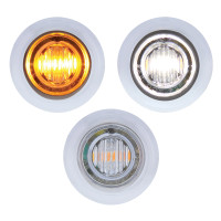 3 LED Amber & White Dual Color Mini Clearance Marker Light With Bezel