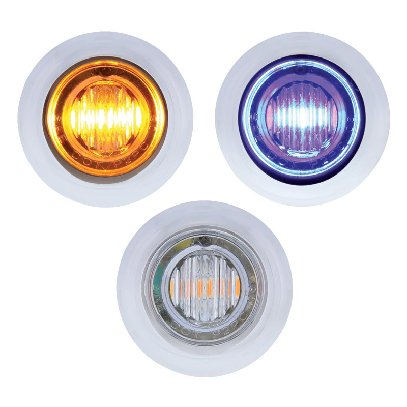 3 LED Amber & Blue Dual Color Mini Clearance Marker Light With Bezel