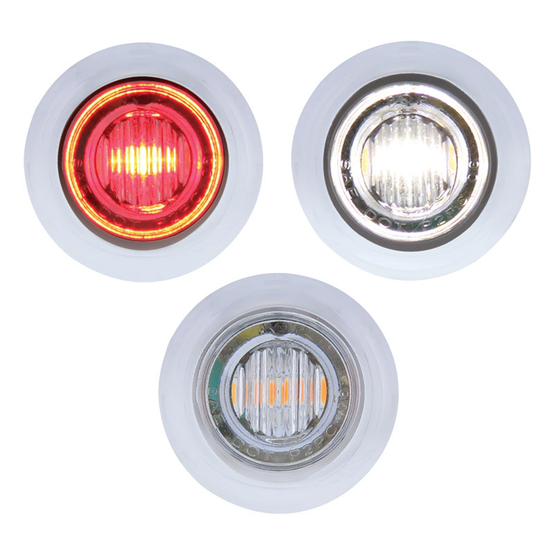 3 Led Red Amp White Dual Color Mini Clearance Marker Light