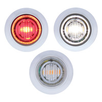 3 LED Red & White Dual Color Mini Clearance Marker Light With Bezel
