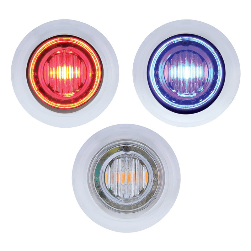 3 LED Red & Blue Dual Color Mini Clearance Marker Light With Bezel