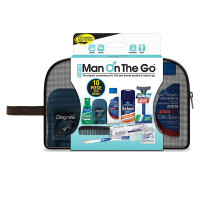 Man On The Go 10 Piece Black Mesh Travel Bag