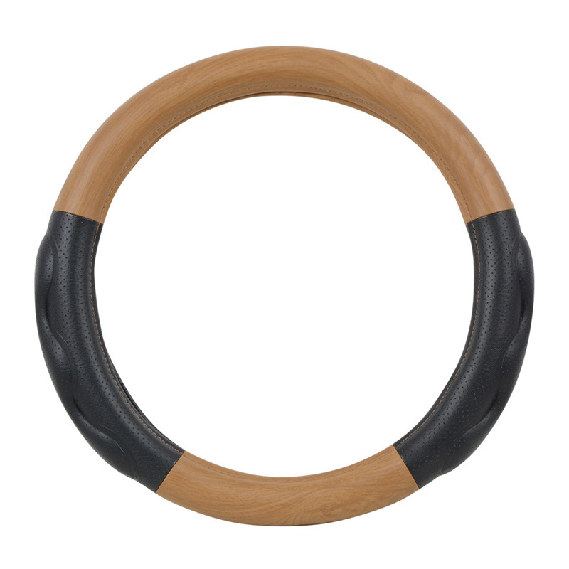 """Heavy Duty 18"""" Matte Natural Wood Finish Steering Wheel Cover"""