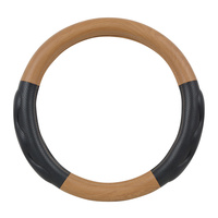 "Heavy Duty 18"" Matte Natural Wood Finish Steering Wheel Cover"